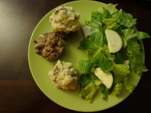 Meatloaf Muffins (One with the Potato on top like a Cupcake, the other with meatloaf and potato side-by-side)