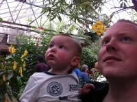 "Baby T and Daddy checking out the ""Bugs"""