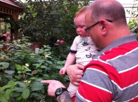 Papa pointing out some butterflies to Baby T!
